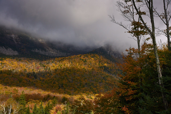 Franconia Notch at fall with clouds