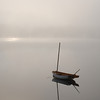 Wooden Sail Boat on Cunningham Pond, Peterborough, NH in the fog5
