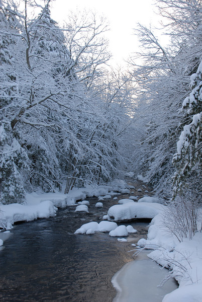Fresh snowfall over the river in New Boston