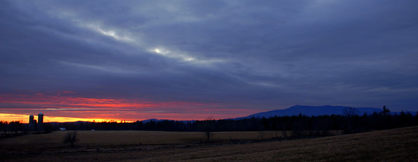 Mount Monadnock at sunset over Sawyer Farm.