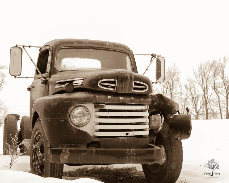 Old Ford  Truck in Snow