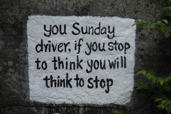 "New Boston ""Sunday Driver"" rock sign"