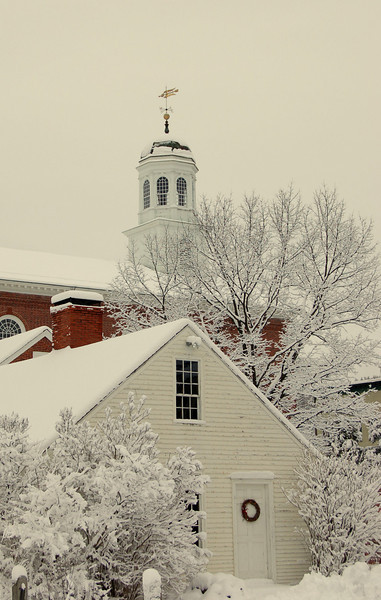 Winter view of town house cupola in Peterborough, NH