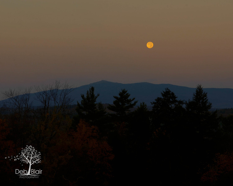 Mt. Monadnock at sunrise with the moon setting 2013