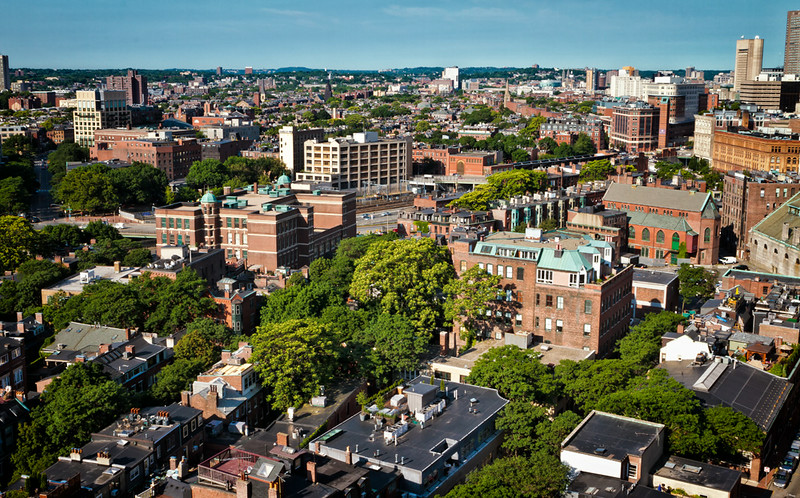 Boston, Massachusetts<br /> Downtown from the Revere Hotel<br /> note the abundance of trees