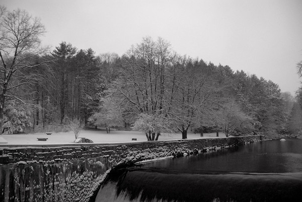 Putnam Park in Black & White Peterborough, NH in Winter time.