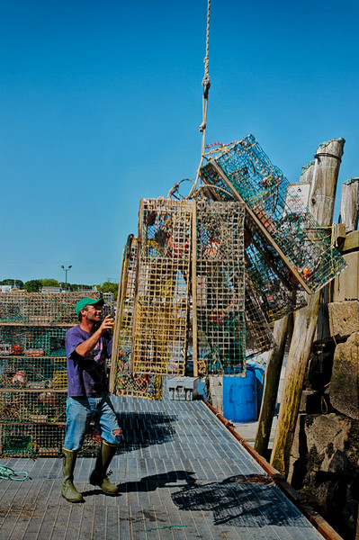 Rockland, Maine<br /> Loading the Lobster Traps