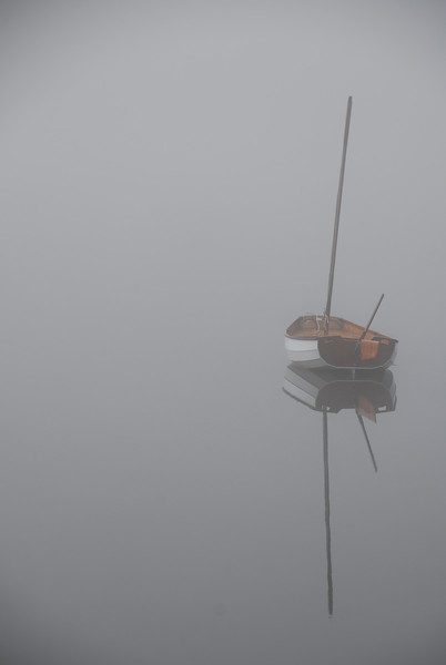 Wooden Sail Boat on Cunningham Pond, Peterborough, NH in the fog4d