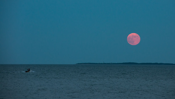 Full moon rising over Woods Hole, MA
