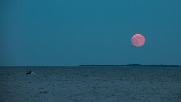 Full moon rising over Woods Hole, MA