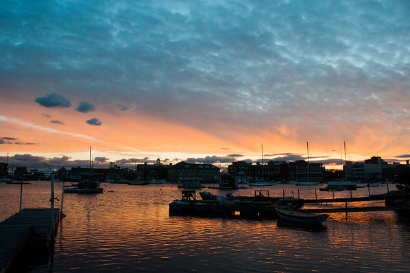 Sunset over Eel Pond, in Woods Hole, MA