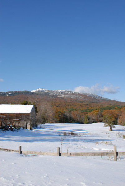 Mount Monadnock winter scenic from Route 124 in Jaffrey, NH