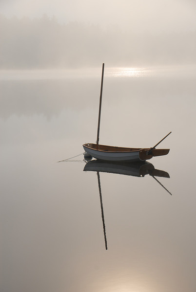 Wooden Sail Boat on Cunningham Pond, Peterborough, NH in the fog2