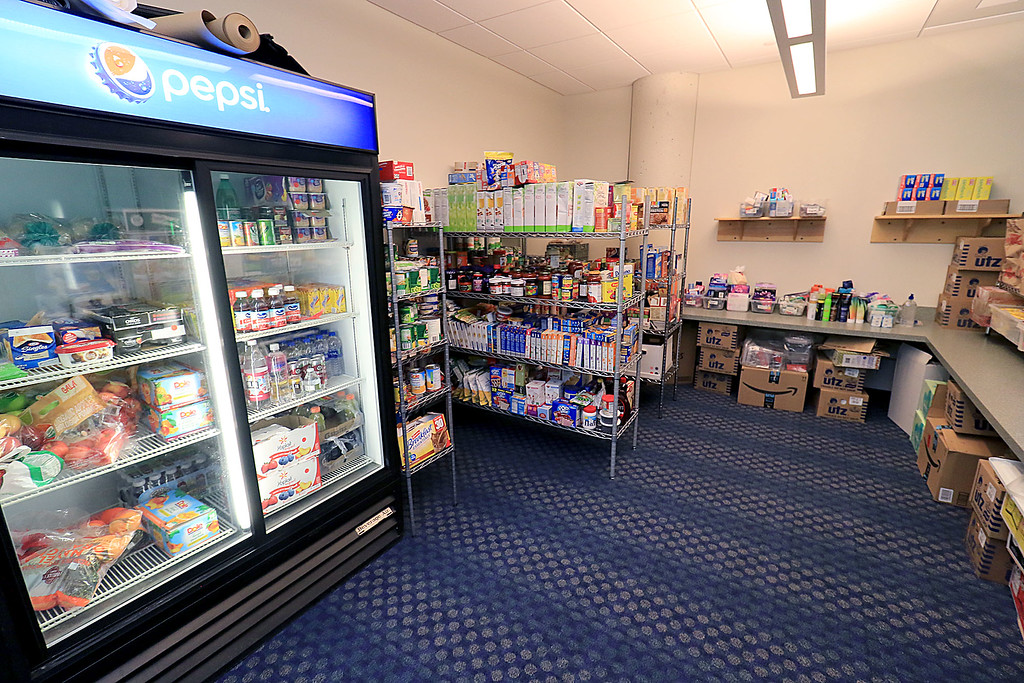 . The new Fitchburg State University Falcon Bazaar food pantry to help students in need held a ribbon cutting on Tuesday, October 16, 2018. SENTINEL & ENTERPRISE/JOHN LOVE