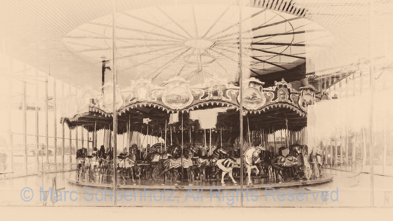 Carousels - a thing of beauty from a bygone era produced with an antique look  - Across from the New York Skyline