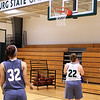 Katelynn Rizzutl  and right  Catherine Coppinger  at practice