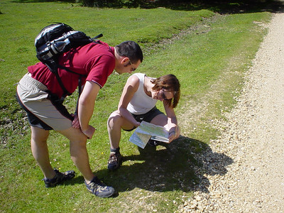 Where are We?  Claire and Alan consulting the OS map to plan out our route.