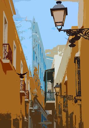 Old San Juan Alleyway cut-out edit version