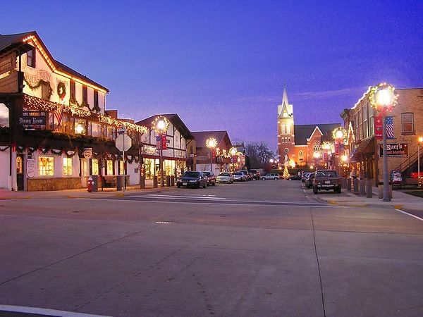 Downtown New Glarus in December just before sunset.
