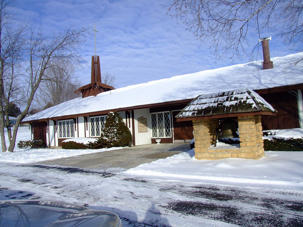 Shepherd of the Hills Lutheran Church after a snowfall