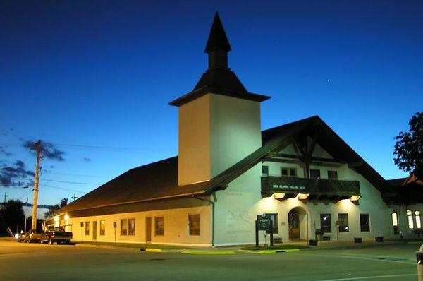 The New Glarus Village Hall on a summer evening
