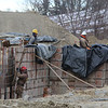 Workers did not let the cold on Monday February 6, 2017 stop them from continuing the work on the new Groton Inn on main Street in Groton that is set to open later this year. SUN/JOHN LOVE