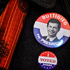 KRISTOPHER RADDER — BRATTLEBORO REFORMER<br /> A person wears a Democratic presidential candidate former South Bend, Ind., Mayor Pete Buttigieg button while voting at the Chesterfield, N.H., Polling Station inside the Town Hall during the New Hampshire presidential primaries on Tuesday, Feb. 11, 2020.