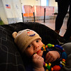 "KRISTOPHER RADDER — BRATTLEBORO REFORMER<br /> Henry Vonderhorst, 5-months-old, of Chesterfield, N.H., wears an ""I Voted"" sticker on his hat at the Chesterfield, N.H., Polling Station inside the Town Hall during the New Hampshire presidential primaries on Tuesday, Feb. 11, 2020."