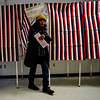 KRISTOPHER RADDER — BRATTLEBORO REFORMER<br /> Victoria Akeley, of Hinsdale, N.H., leaves the voting booth with her ballot in hand at the Millstream Community Center, in Hinsdale, during the New Hampshire presidential primaries on Tuesday, Feb. 11, 2020.