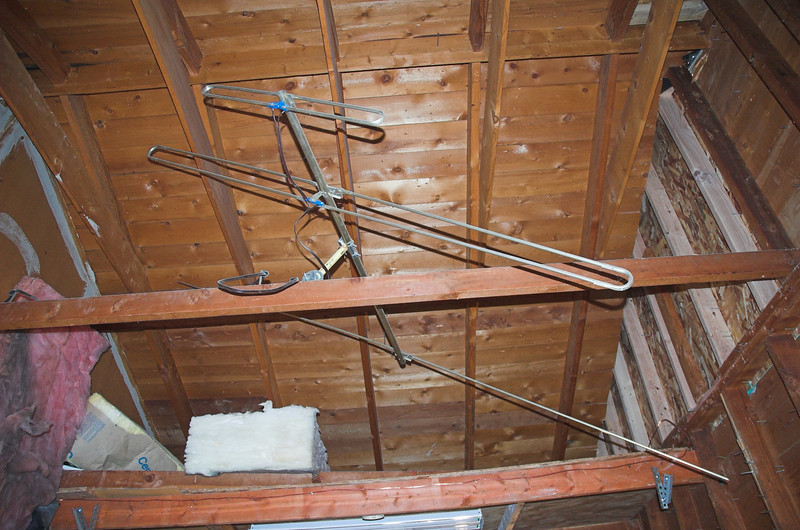 And the beautiful TV antenna that is up in the garage has to go away - I tried to get Carl to take it home to his house but he wasn't going for it.  I'm sure it's the new fancy digital antenna.