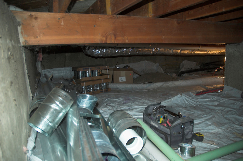 So finally decided to venture into the crawl space again.  With the old ducts gone it's easier to get around.