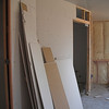 Drywall in the bedroom.  Look - this is a pocket door to my closet.