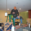 It's also electrical day - Darryl is hanging the pendants (a bit lower than the demo height).