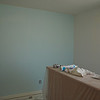 My daughter's room - 1 wall painted.  Light turquoise color.  The other 3 walls will be the same color only darker.