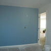 My son's wall - it's really more gray than this and the other 3 walls are a dark denim blue color.