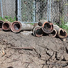The removed pipes.<br /> <br /> I know - more exciting sewer photos.  Needed incase there are questions about the sewer as the sellers put money in escrow as I knew the sewer line was broken when I closed on the house.  Like I said - I'm paranoid about sewers so I had the line camera'd before buying the house.
