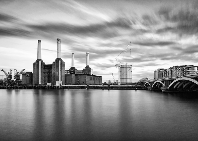 Battersea Power Station and River Thames in London UK