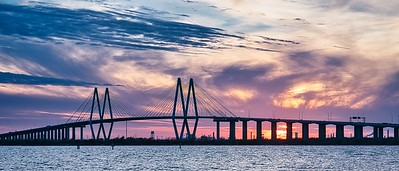 Fred Hartman Bridge at Sunset