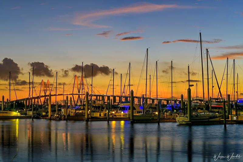 Bayland Marina & the Fred Hartman Bridge in Baytown, Texas