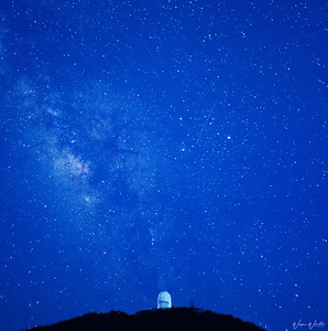 Milky Way Over the McDonald Observatory at Twilight (Blue Sky)