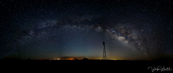 The Arch of the Milky Way Over the Windmill:  Seminole Canyon State Park