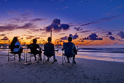 Family Waiting for the Sunrise