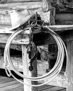 Cowboy Paraphenalia: hat, spurs, brand, rope