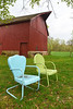 Red barn with chairs - 01