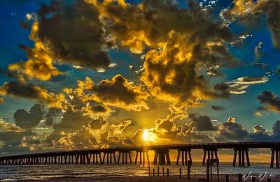 Sunrise at the San Luis Pass Bridge