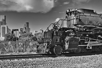 Big Boy & the Houston Skyline in B & W