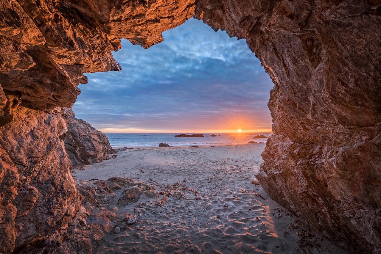 Sea Cave and Sunset, Sea Ranch, California