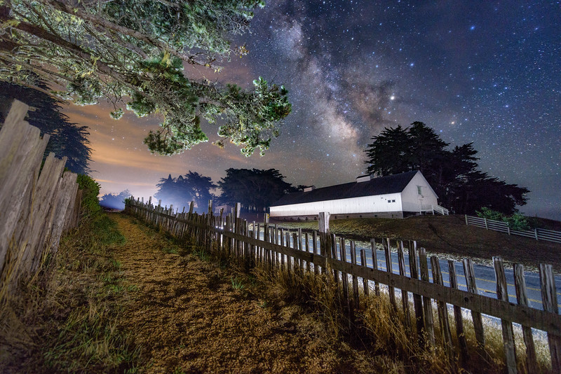 White Barn & Milky Way, Sea Ranch, California