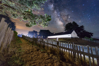 White Barn & Milky Way, Sea Ranch, California