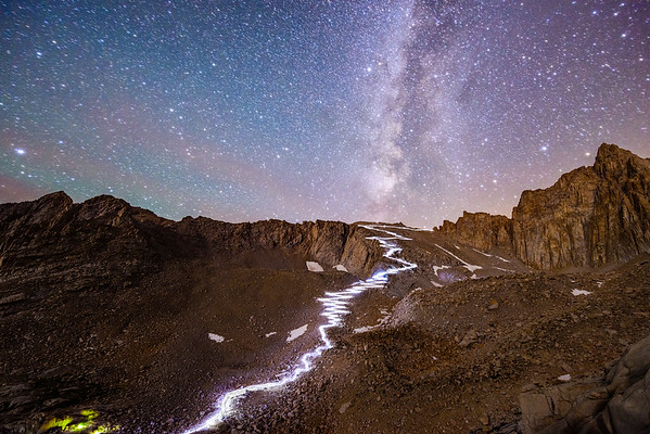 Mt Whitney's 97 Switchbacks Photographed At Night, Sierra Nevada, California